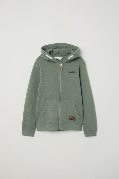 Hooded jacket - Green - Kids | H&M CN