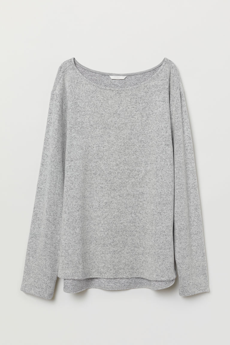 Boat-necked jersey top - Light grey marl - Ladies | H&M