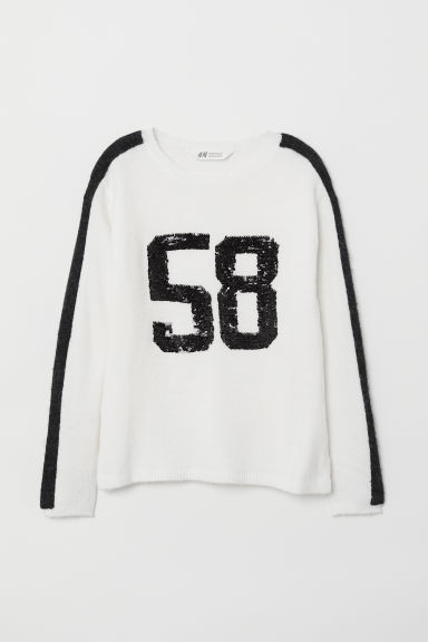 Knitted jumper with a motif - White - Kids | H&M CN