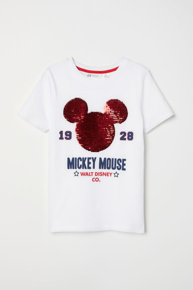 Reversible sequin T-shirt - White/Mickey Mouse - Kids | H&M CN