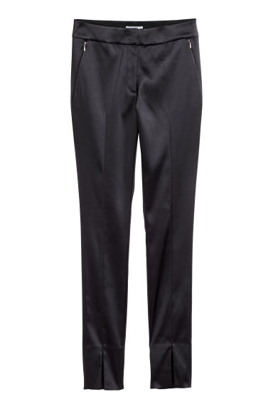 Tailored trousers - Black/Satin -  | H&M
