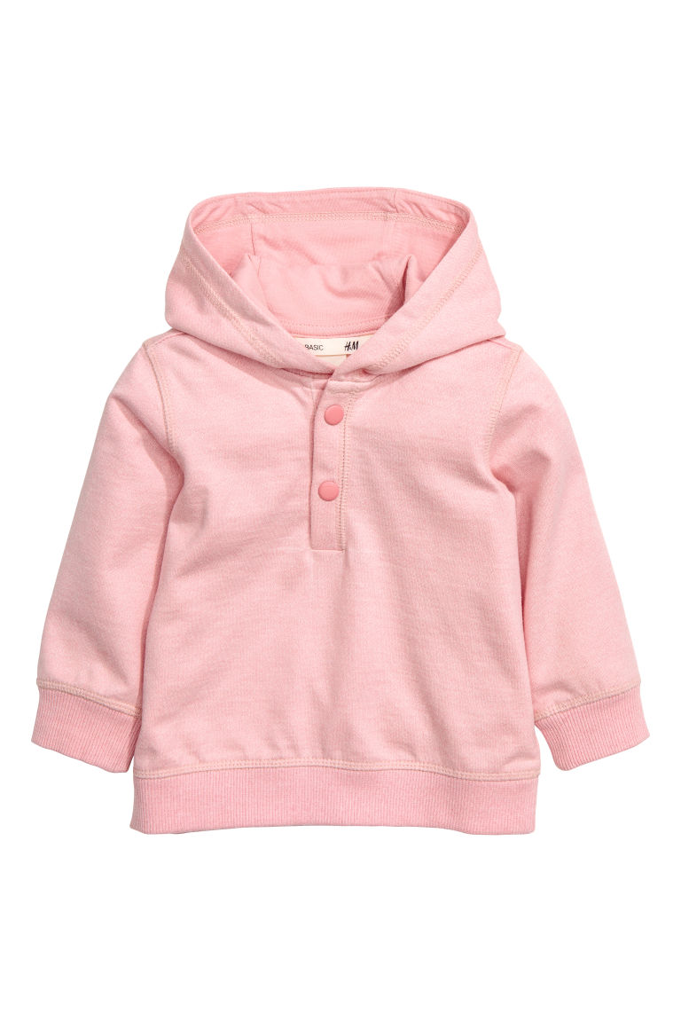 Cotton hooded top - Light pink - Kids | H&M CN