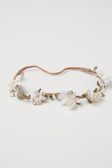 Hairband with flowers - Natural white - Ladies | H&M CN