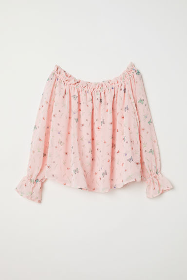 Off-the-shoulder blouse - Light pink/Patterned - Ladies | H&M CN
