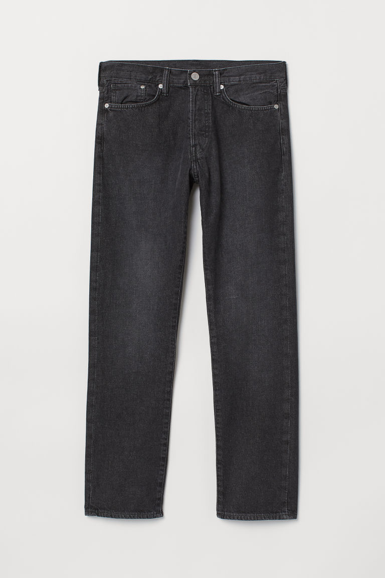 Straight Jeans - Zwart washed out - HEREN | H&M BE