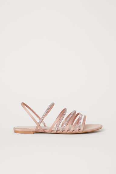 Sandals with sparkly straps - Beige -  | H&M CN
