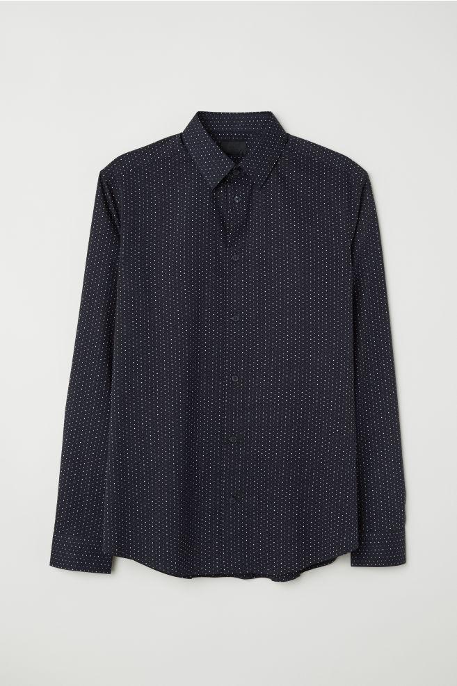 Puntíkovaná košile Slim fit - Tmavomodrá bílé puntíky - MUŽI  c8c2ca5783