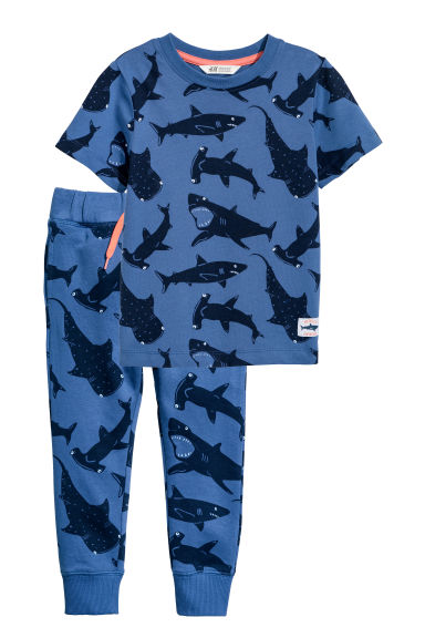 T-shirt and joggers - Dark blue/Sharks - Kids | H&M