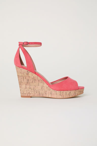Wedge-heel platform sandals - Coral -  | H&M