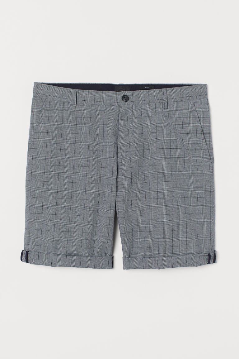 Slim Fit Chino Shorts - Gray/checked - Men | H&M US
