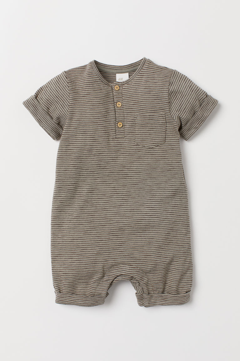 Cotton romper suit - Light khaki green/Brown stripe - Kids | H&M