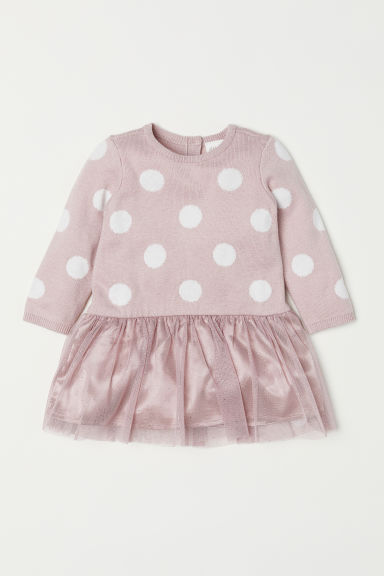 Dress with a tulle skirt - Pink/Spotted - Kids | H&M