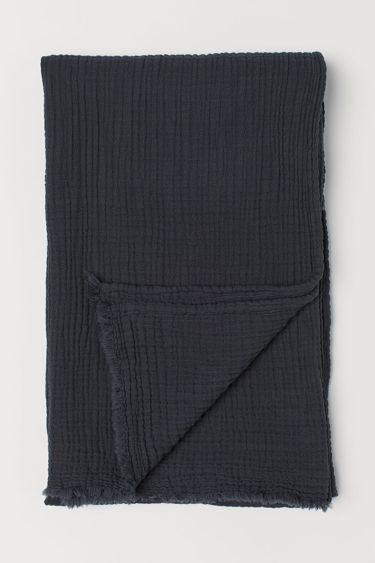 Crinkled cotton blanket - Anthracite grey - Home All | H&M CN