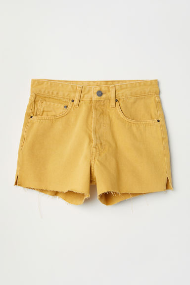Denim shorts Mom Fit - Mustard yellow - Ladies | H&M