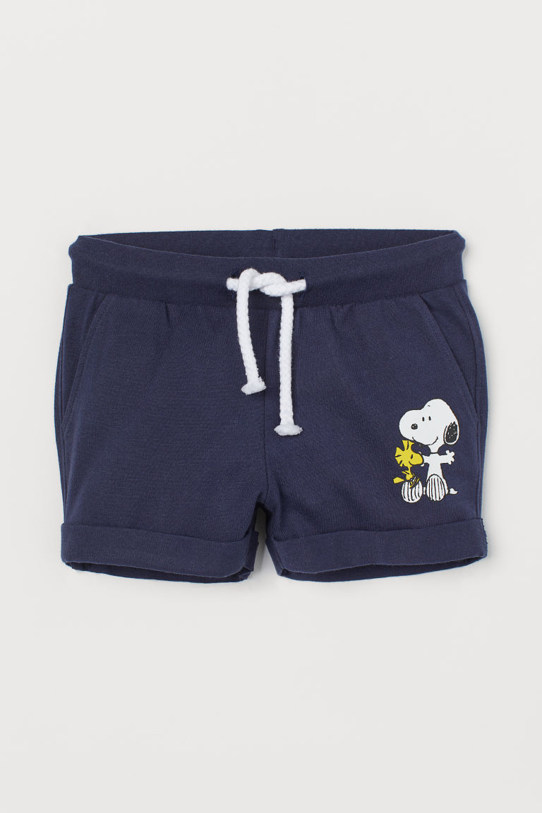 Printed jersey shorts - Dark blue/Snoopy - Kids | H&M CN