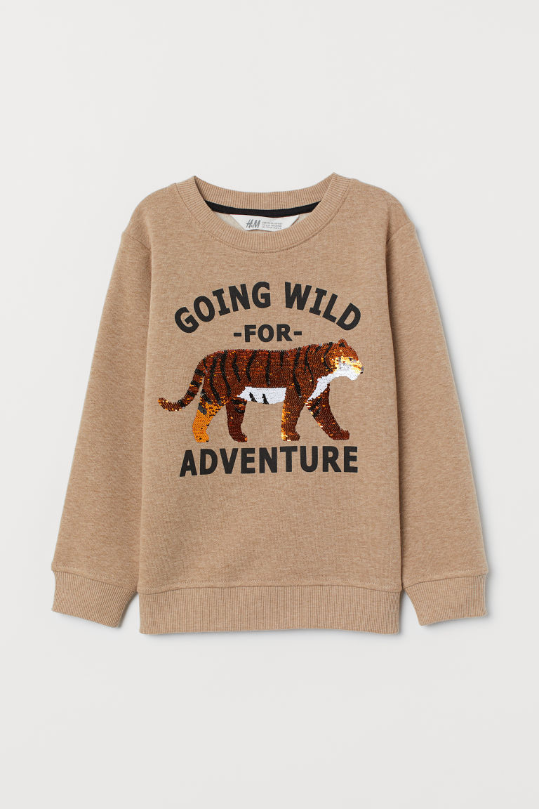 Sweat à paillettes réversibles - Beige chiné/tigre - ENFANT | H&M CH