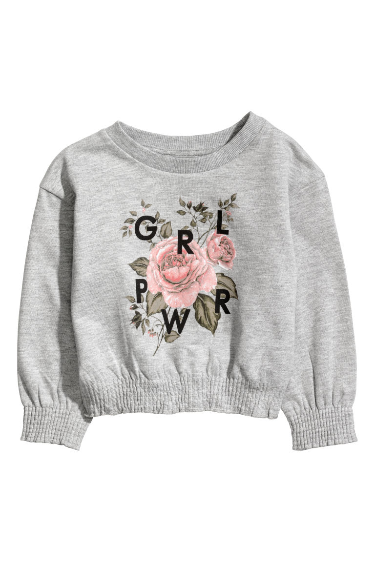 Sweatshirt with smocking - Grey marl - Kids | H&M CN