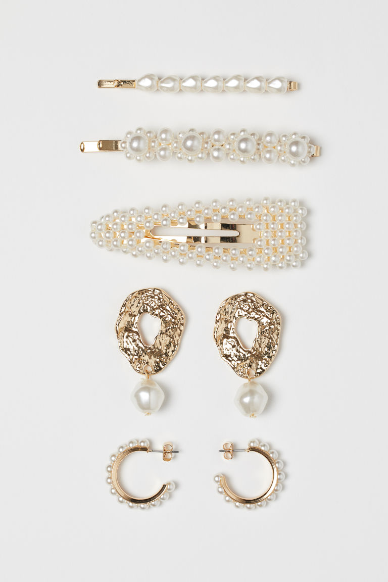Hair Clips and Earrings - Gold-colored/white - Ladies | H&M US