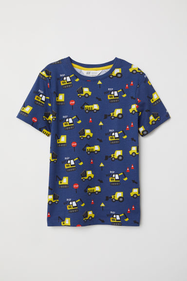 Printed T-shirt - Dark blue/Big machines - Kids | H&M
