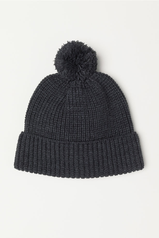 ef394eed340 Ribbed hat with a pompom - Dark grey marl - Men
