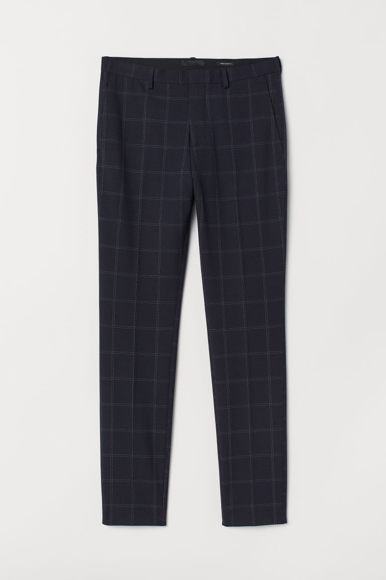 Suit trousers Super Skinny Fit - Dark blue/Checked - Men | H&M CN