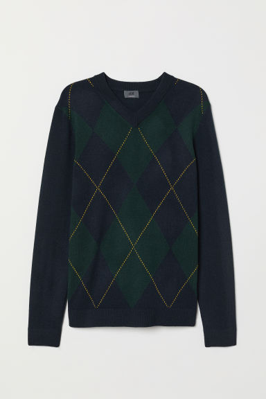 V-neck jumper - Dark blue/Dark green - Men | H&M