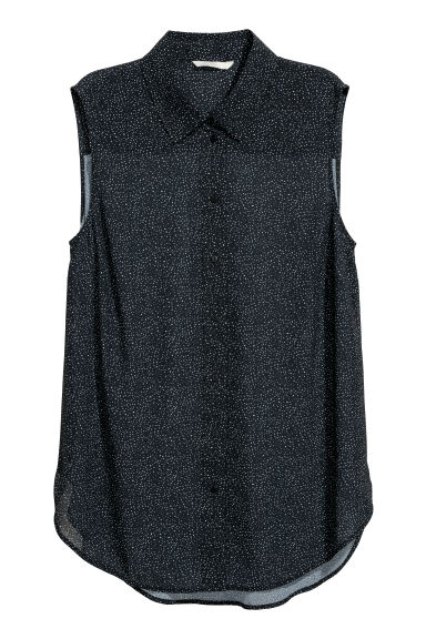 Sleeveless blouse - Black/Spotted -  | H&M