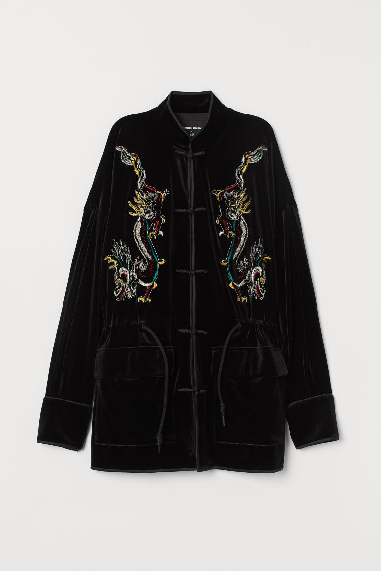 Embroidered velour jacket - Black - Ladies | H&M
