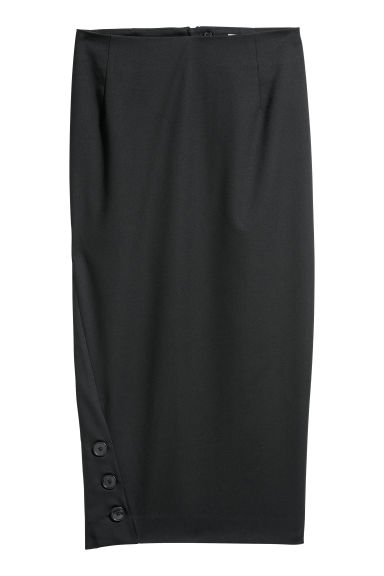 Pencil skirt with buttons - Black - Ladies | H&M