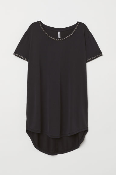 T-shirt with studs - Dark grey/Studs - Ladies | H&M