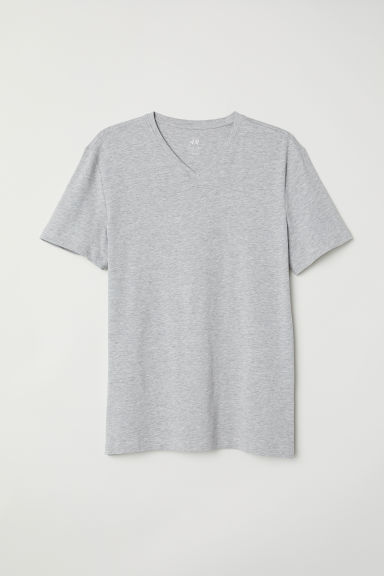 V-neck T-shirt Slim Fit - Gris jaspeado claro - Men | H&M MX