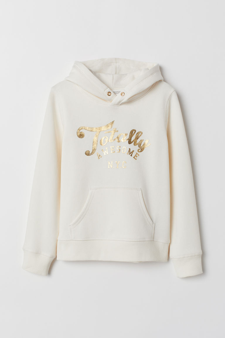 Hooded top with a motif - Natural white/Totally Awesome - Kids | H&M