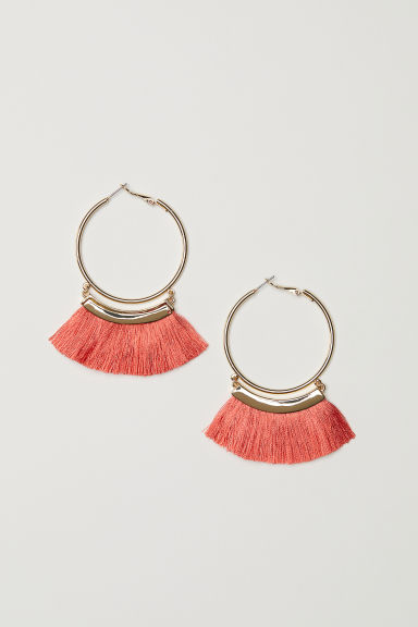 Tasselled earrings - Gold-coloured/Coral - Ladies | H&M CN