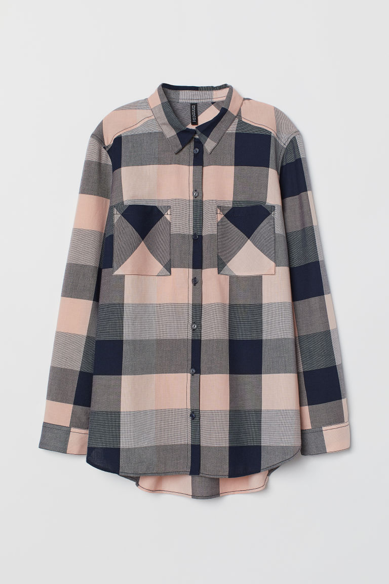 Cotton shirt - Dark blue/Pink checked - Ladies | H&M