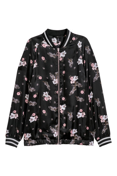 Satin bomber jacket - Black/Flowers - Ladies | H&M