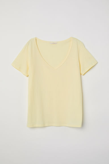 Top en coton à encolure en V - Jaune clair -  | H&M CH