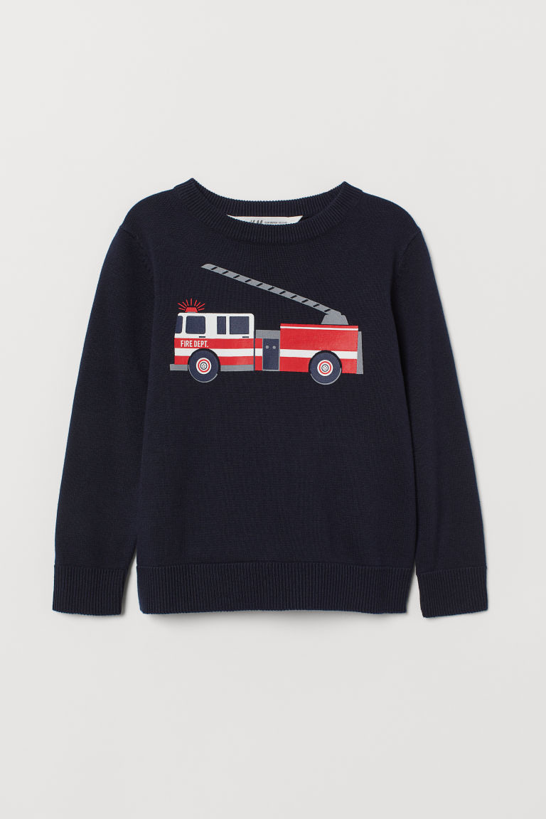 Fine-knit Sweater - Dark blue/fire truck - Kids | H&M CA
