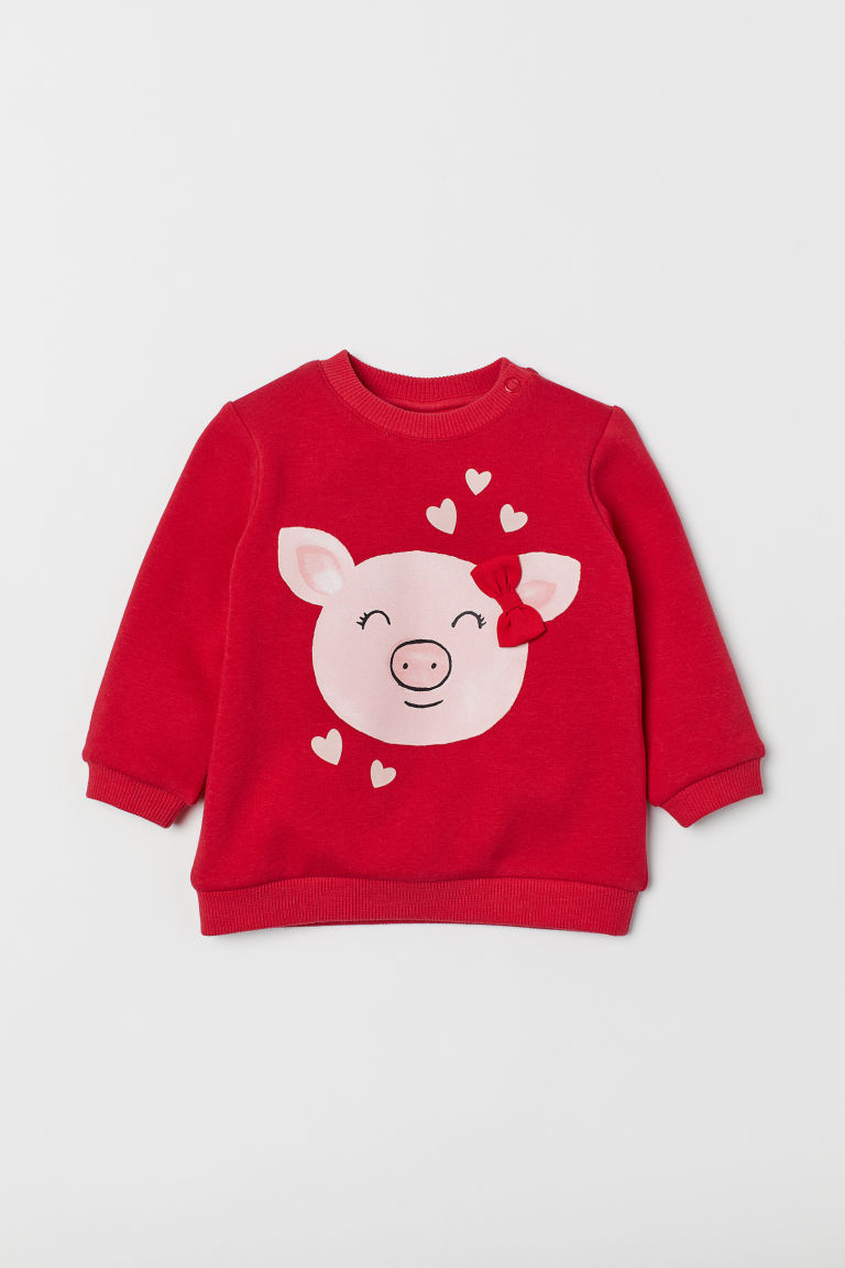 Printed sweatshirt - Red/Pig - Kids | H&M CN