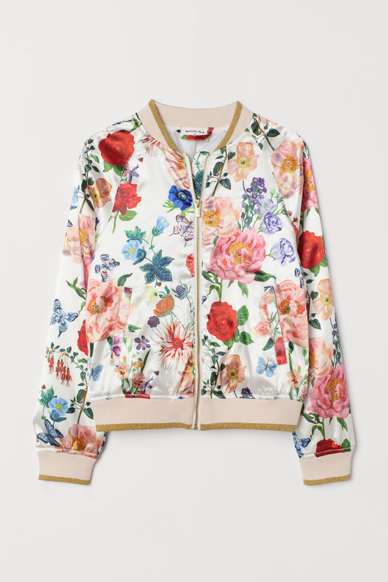 Satin Bomber Jacket - White/flowers - Kids | H&M US