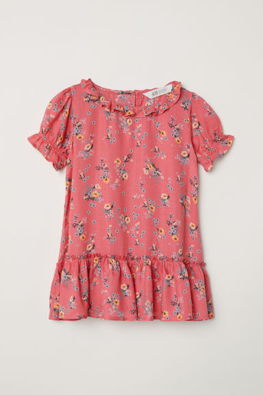 Dress with frills - Coral pink/Floral - Kids | H&M