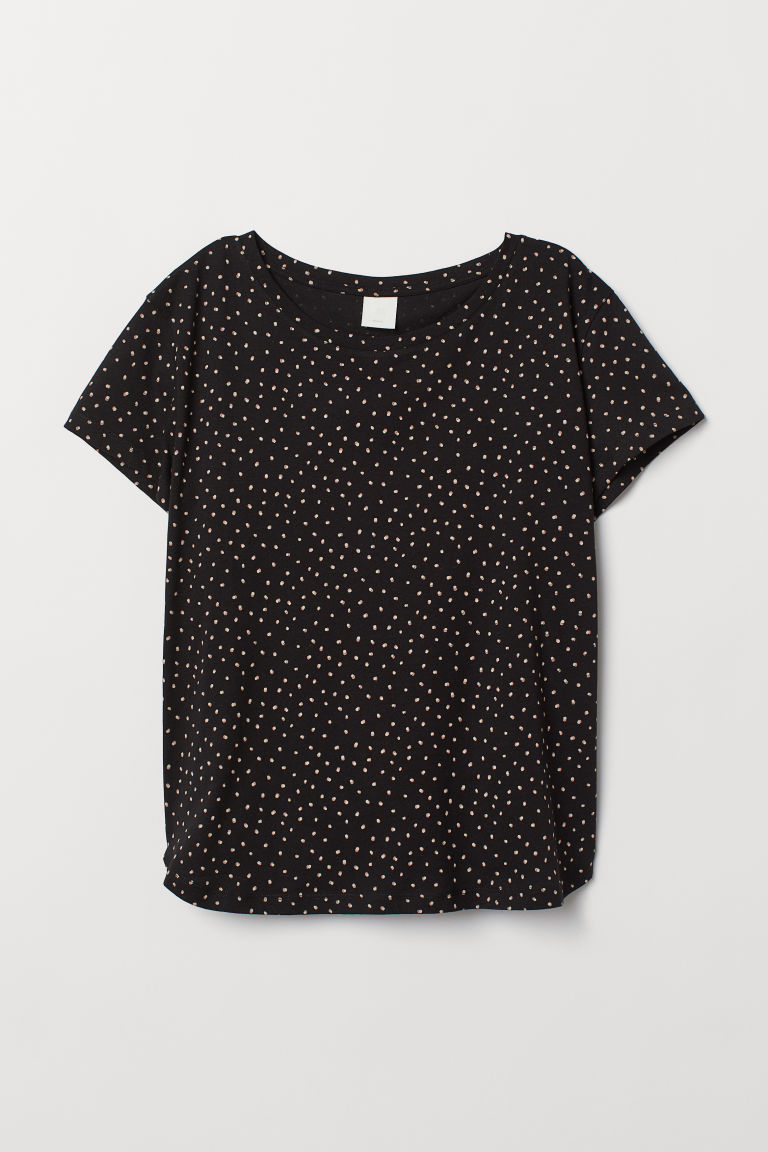 T-shirt in cotone - Nero/pois - DONNA | H&M IT