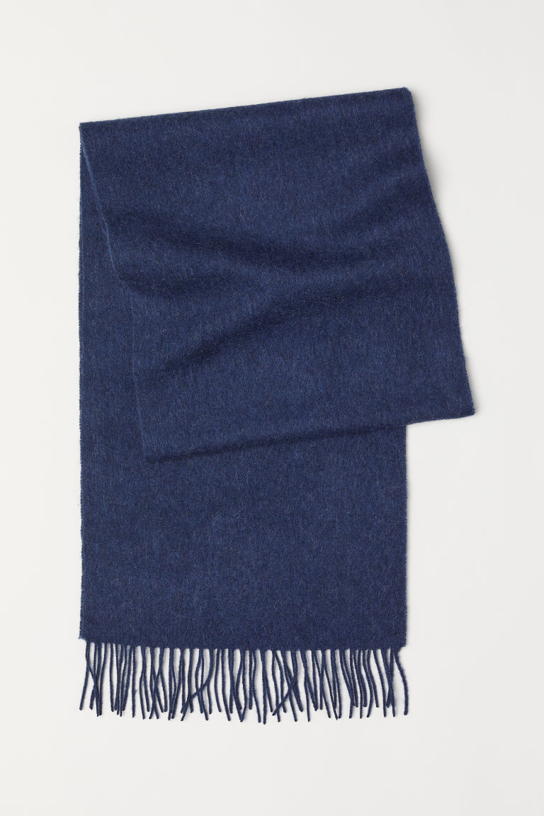 Wool scarf - Dark blue marl - Men | H&M CN