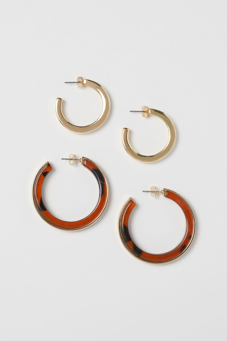 2 pairs earrings - Gold-colour/Tortoiseshell patt - Ladies | H&M