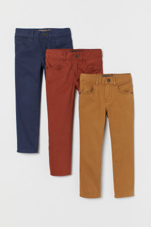 3-pack twill trousers