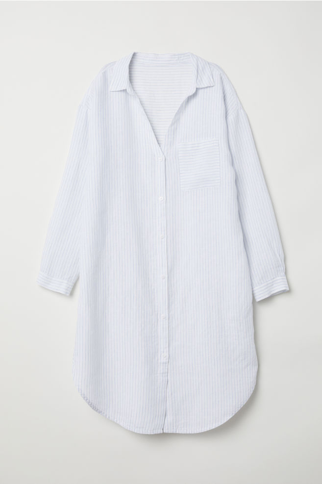 948a64b5 Nattskjorte i lin - Hvit/Stripet - DAME   H&M ...