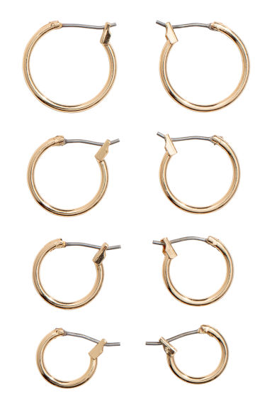 4 pairs earrings - Gold-coloured - Ladies | H&M