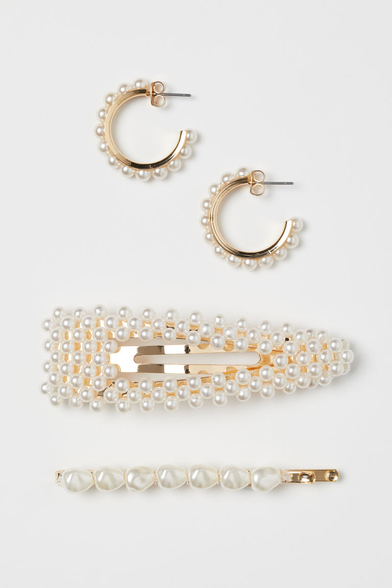 Earrings and hair clips - White/Gold-coloured - Ladies | H&M