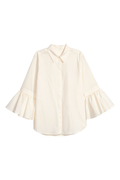 Blouse with flounced sleeves - Natural white - Ladies | H&M