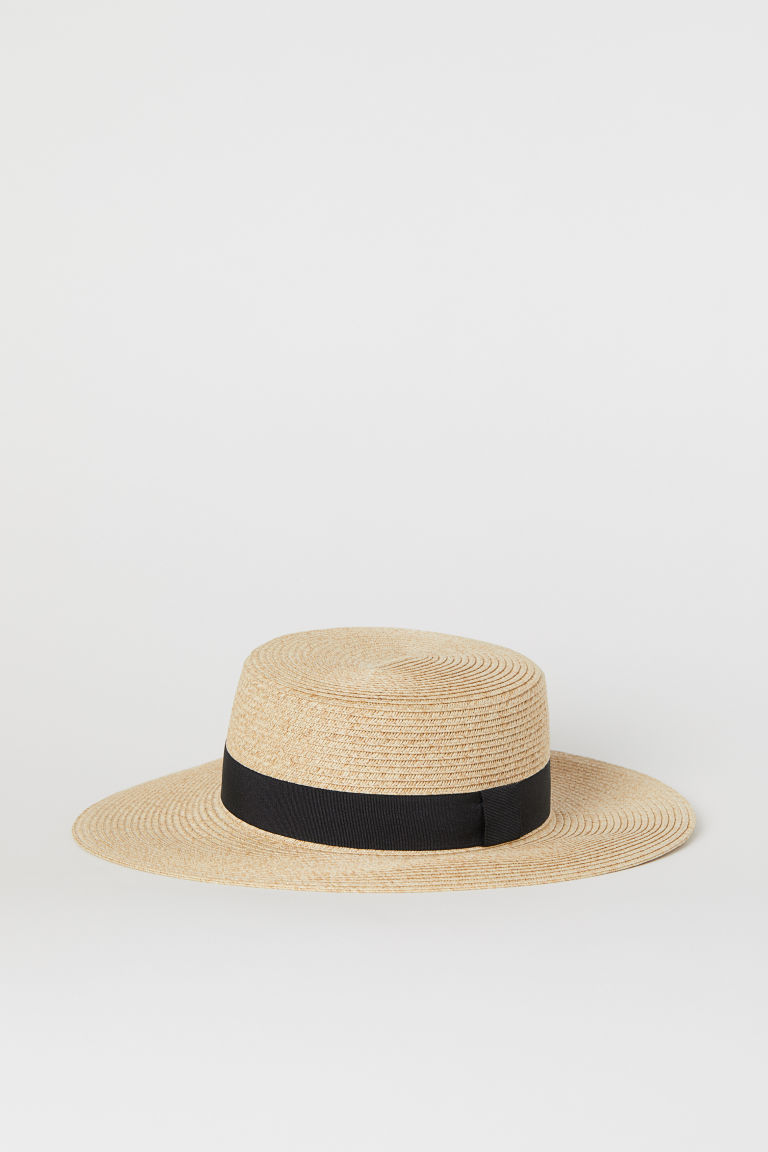 Straw hat - Natural/Black -  | H&M IN