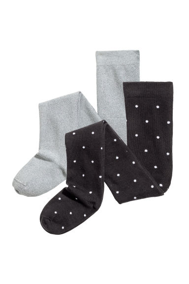2-pack fine-knit tights - Black/Spotted - Kids | H&M